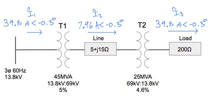 transmission line current in amps