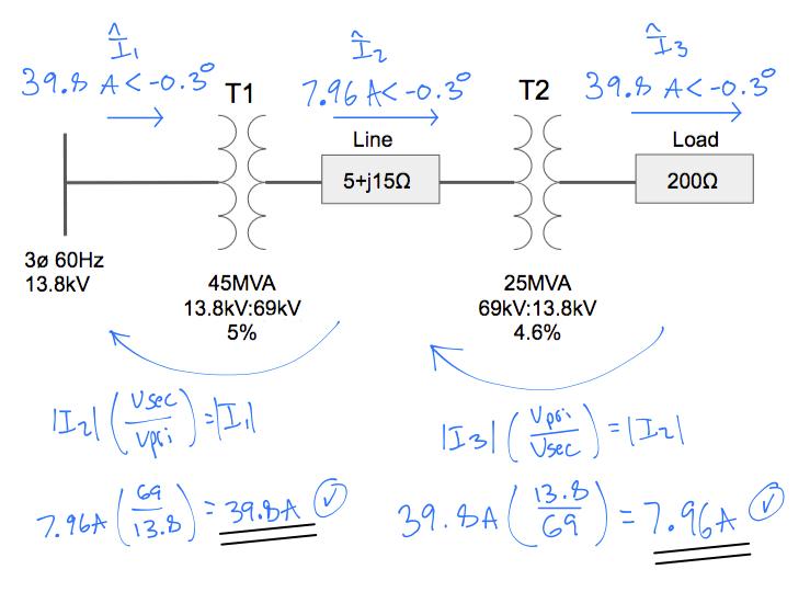 transmission line current using transformer ratios