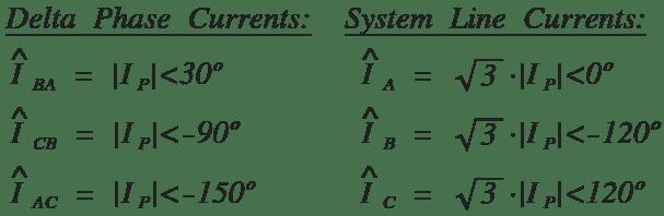 Delta phase and line current formulas