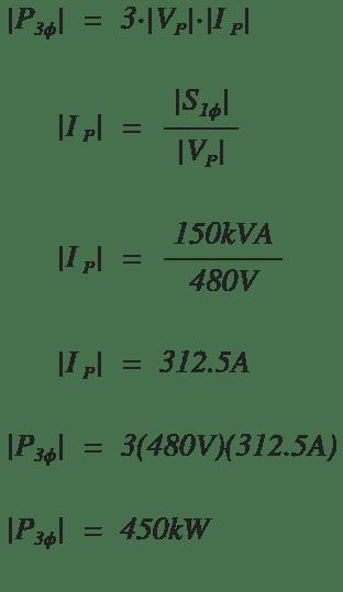 Delta transformer max power example