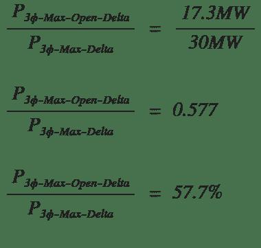Open delta max power vs three phase delta example percentage