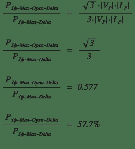 open delta max power percentage compared to regular delta formula