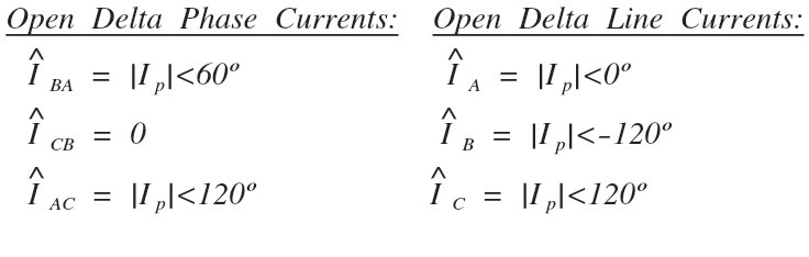 open delta phase and line current values
